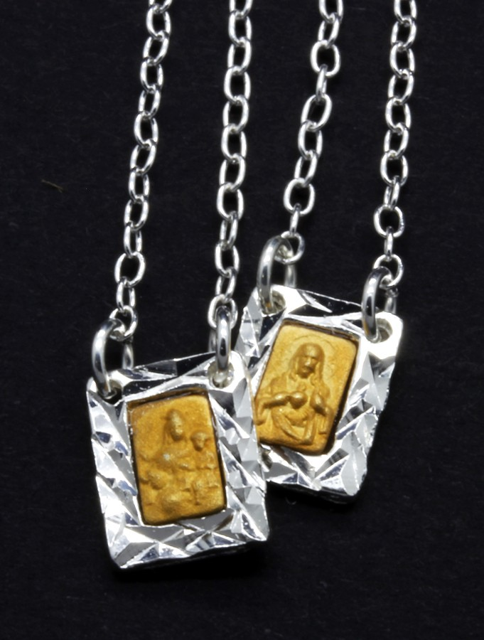 Escapulário Folheado a prata com dourado - pequeno
