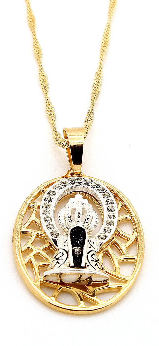 Gargantilha com pingente Nossa Senhora Aparecida Folheada a ouro e Prata