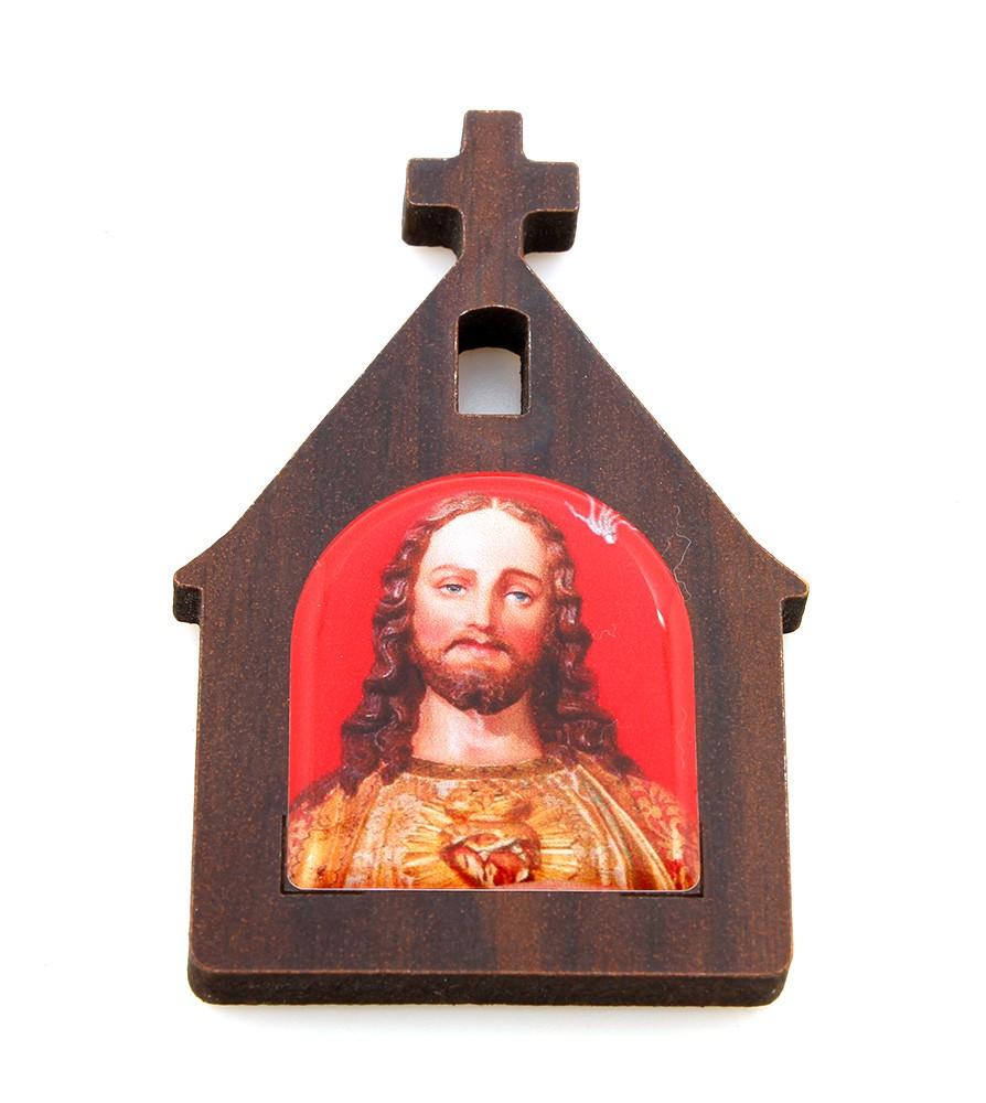 Ima de Geladeira Resinado - Santuário MDF Personalizado Sagrado Coração de Jesus e Nossa Senhora