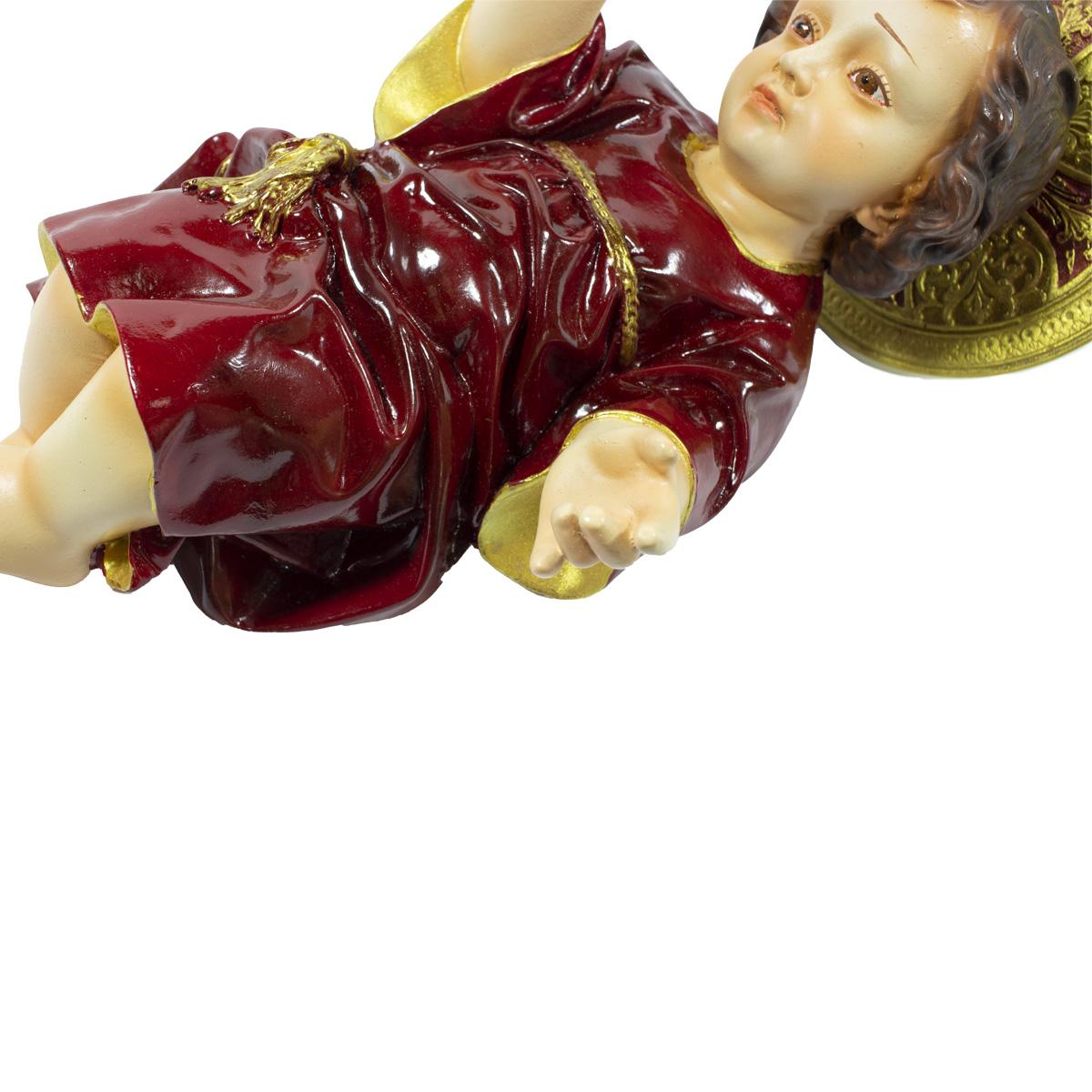 Imagem Escultura Menino Jesus  C/ Aureola 25cm Vemelho