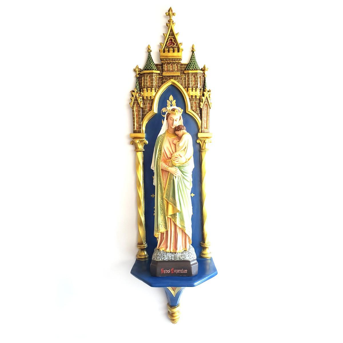 Imagem Nossa Senhora da Sabedoria Policromada - 40cm Com Peanha Gótica