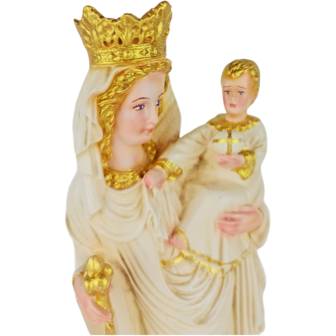 Imagem Escultura Nossa Senhora de Paris Branca C/ Detalhes Dourado 28cm