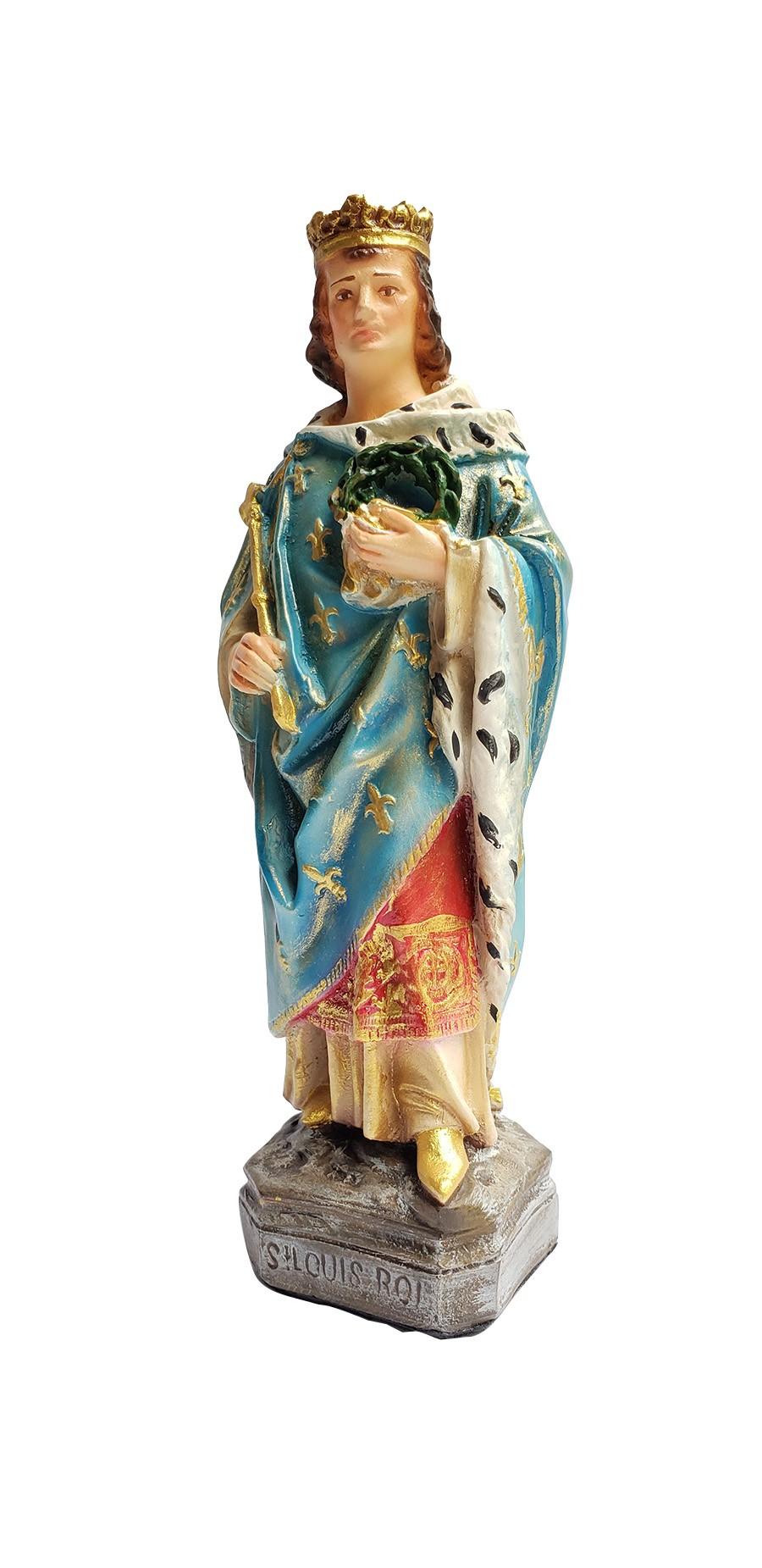 Imagem Escultura São Luis IX Rei da França policromado