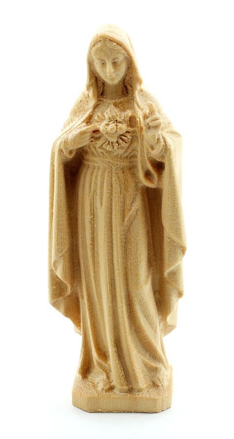 Imagem Escultura Imaculado Coração de Maria - madeira - 7,5cm