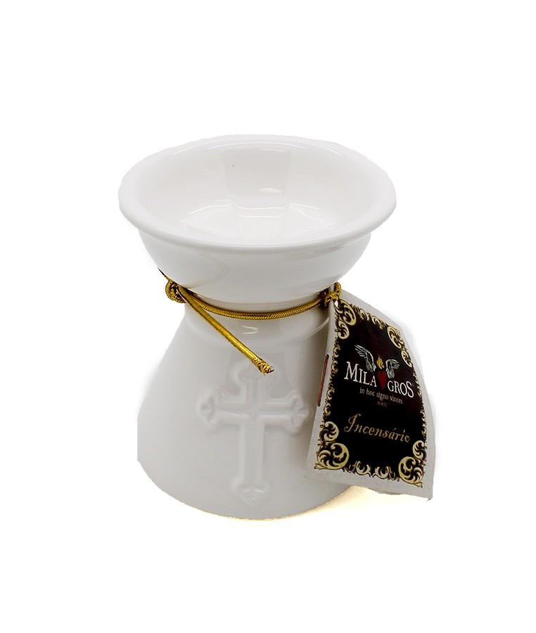 Incensário de cerâmica - Branco