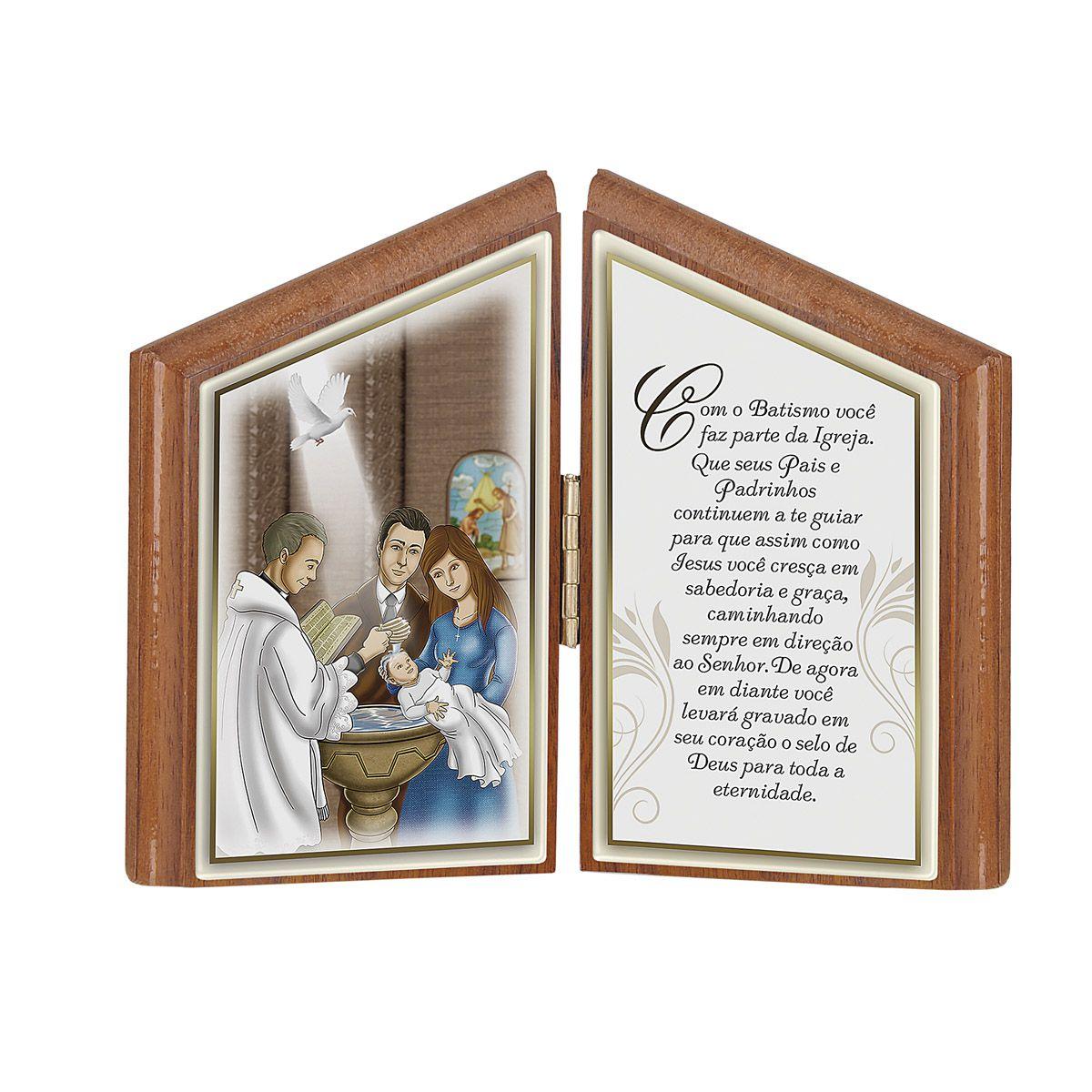 Lembrança de Batismo com oração para mesa  - em madeira