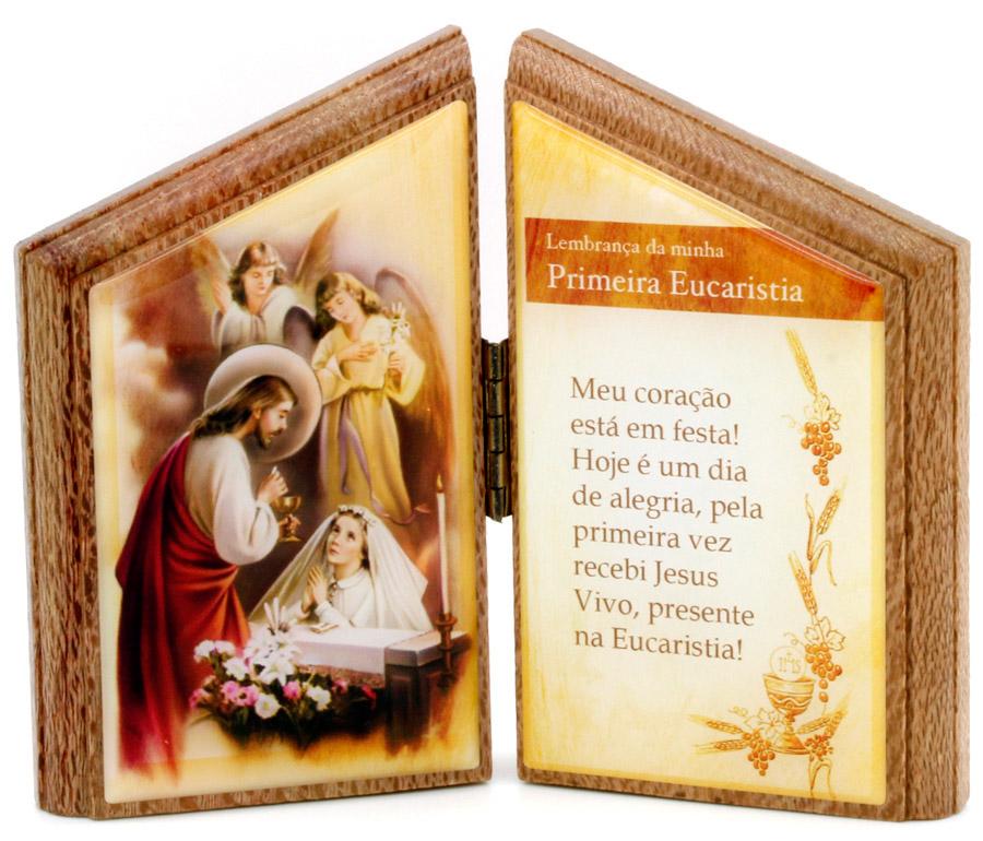 Lembrança Primeira Comunhão de mesa com oração  - em madeira - feminino