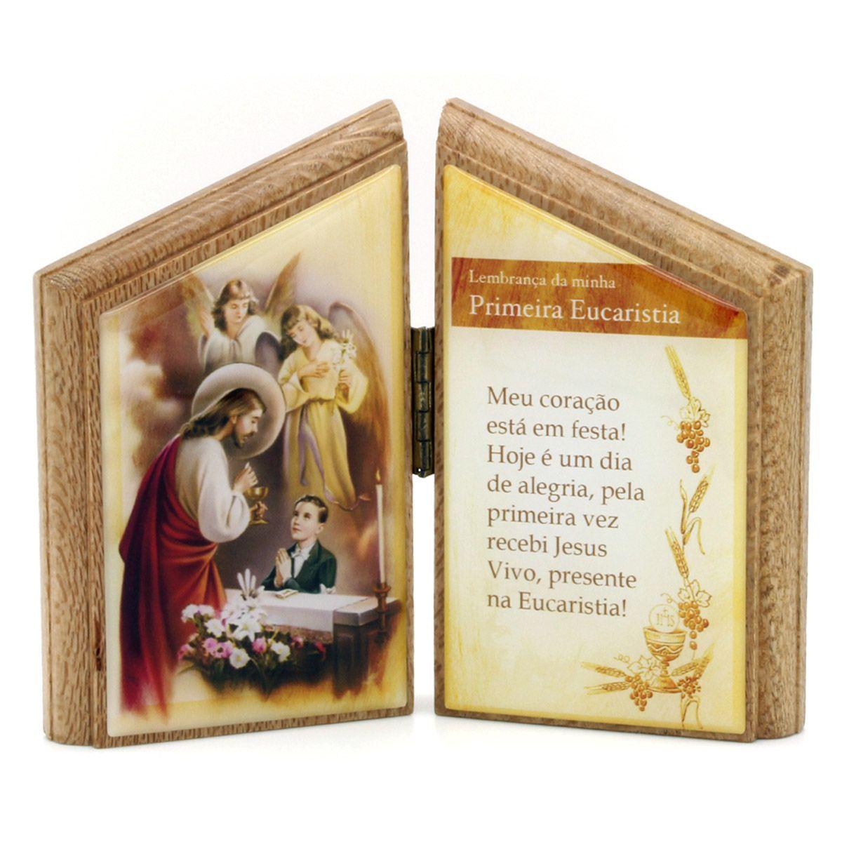 Lembrança Primeira Comunhão de mesa com oração  - em madeira - masculino