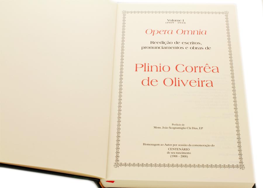 Livro - Opera Omnia de Plinio Correa de Oliveira - Vol I