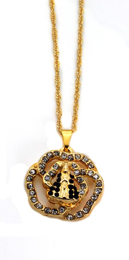 Medalha de Nossa Senhora Aparecida Folheada a Ouro com Strass - na corrente