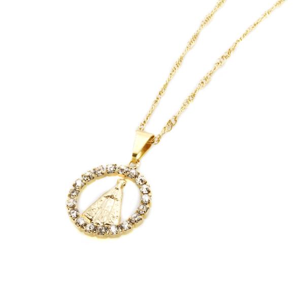 Medalha de Nossa Senhora Aparecida mini Folheada a Ouro com Strass - na corrente