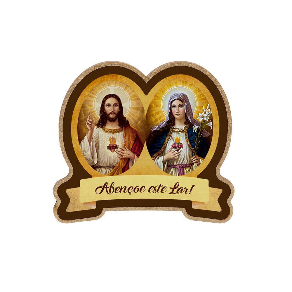 Medalha de Porta MDF Sagrado Coração de Jesus e Maria