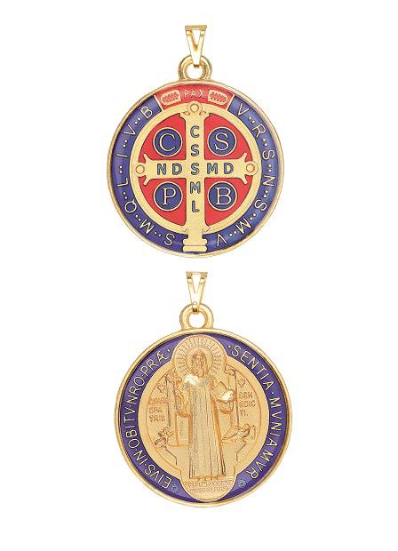 Medalha de São Bento Resinada Colorida Grande