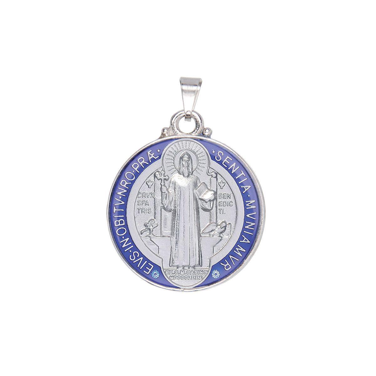Medalha de São Bento Resinada Colorida Niquelada 3CM