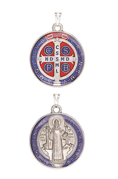 Medalha de São Bento Resinada Niquelada Grande