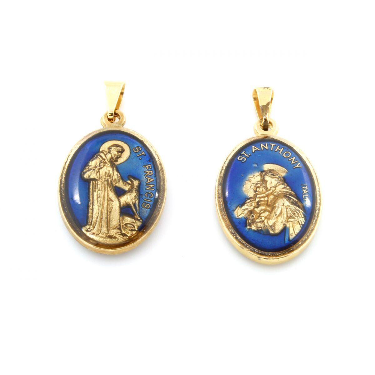 Medalha de São Francisco e Santo Antonio - Resinadas - 10 unidades
