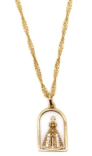 Medalha na corrente de Capelinha com Nossa Senhora Aparecida com Strass