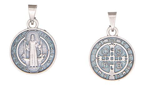 Medalha São Bento pequena - prata velha