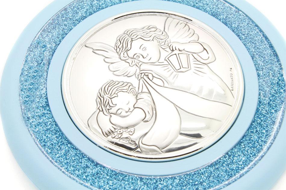 Medalhão de Berço Prata 925 - Anjo da Guarda Azul