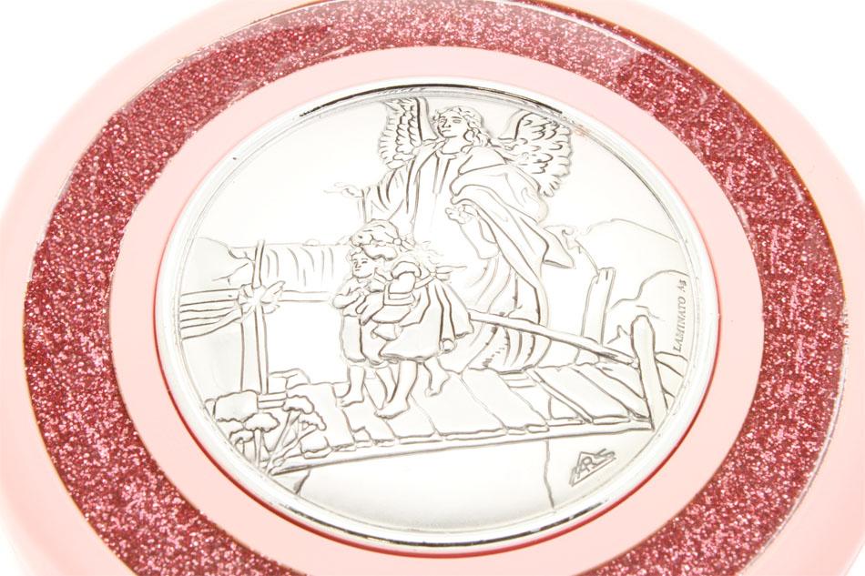 Medalhão de Berço Prata 925 - Anjo da Guarda Rosa