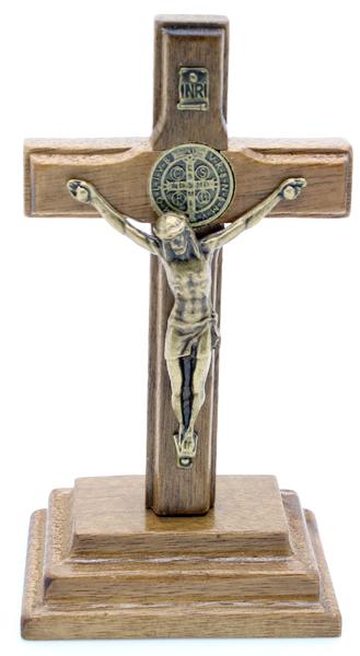 Mini Crucifixo Madeira com Medalha de São Bento - 9cm