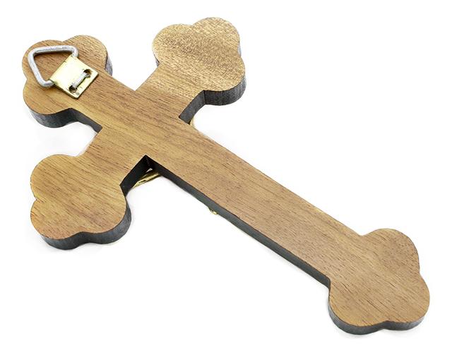 Mini Crucifixo Madeira para Parede Moldado 12cm