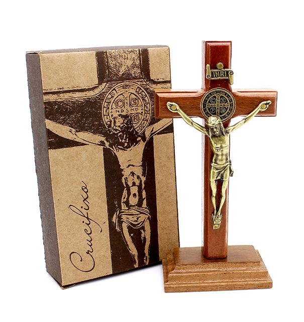 Mini Crucifixo Madeira Medalha de São Bento - Parede ou Mesa 12cm
