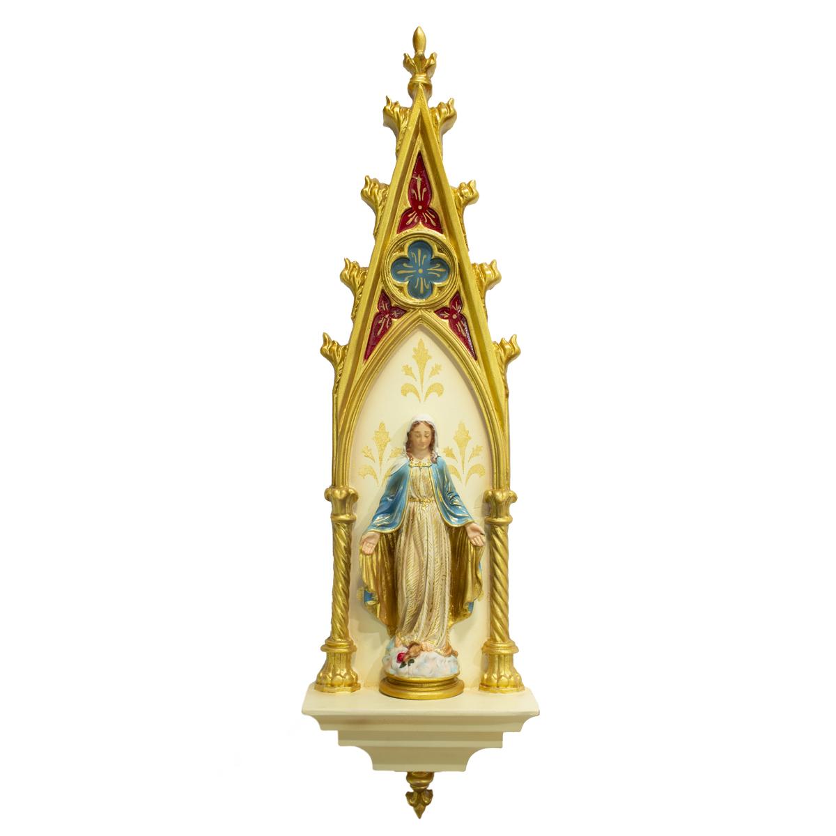 Oratório Gótico Nossa Senhora das Graças em Resina Policromado - 46cm