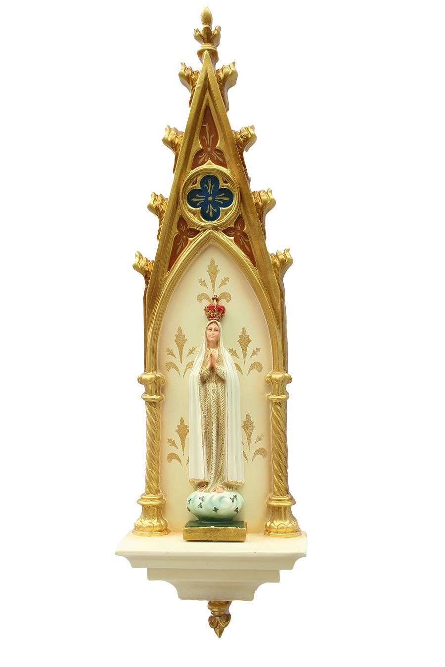 Oratório Gótico Nossa Senhora de Fátima em resina Policromado - 46cm
