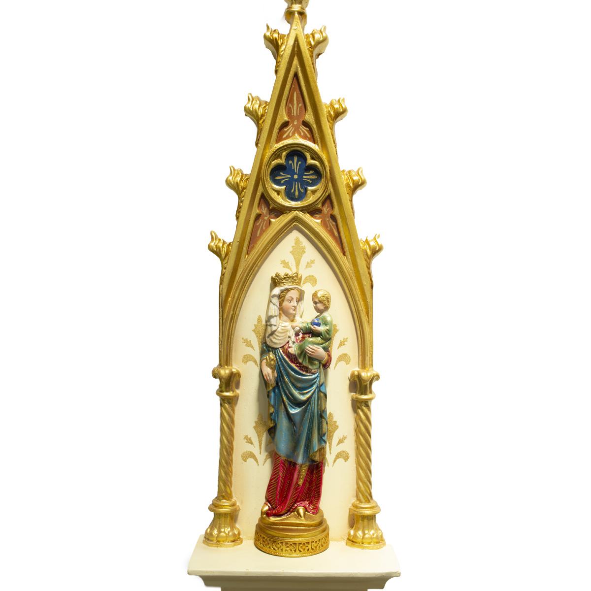 Oratório Gótico Nossa Senhora de Paris em Resina Policromado - 46cm