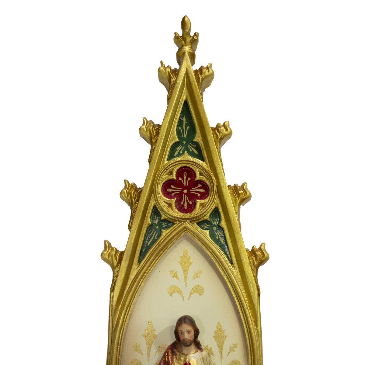 Oratório Sagrado Coração de Jesus Policromado em resina - 46cm