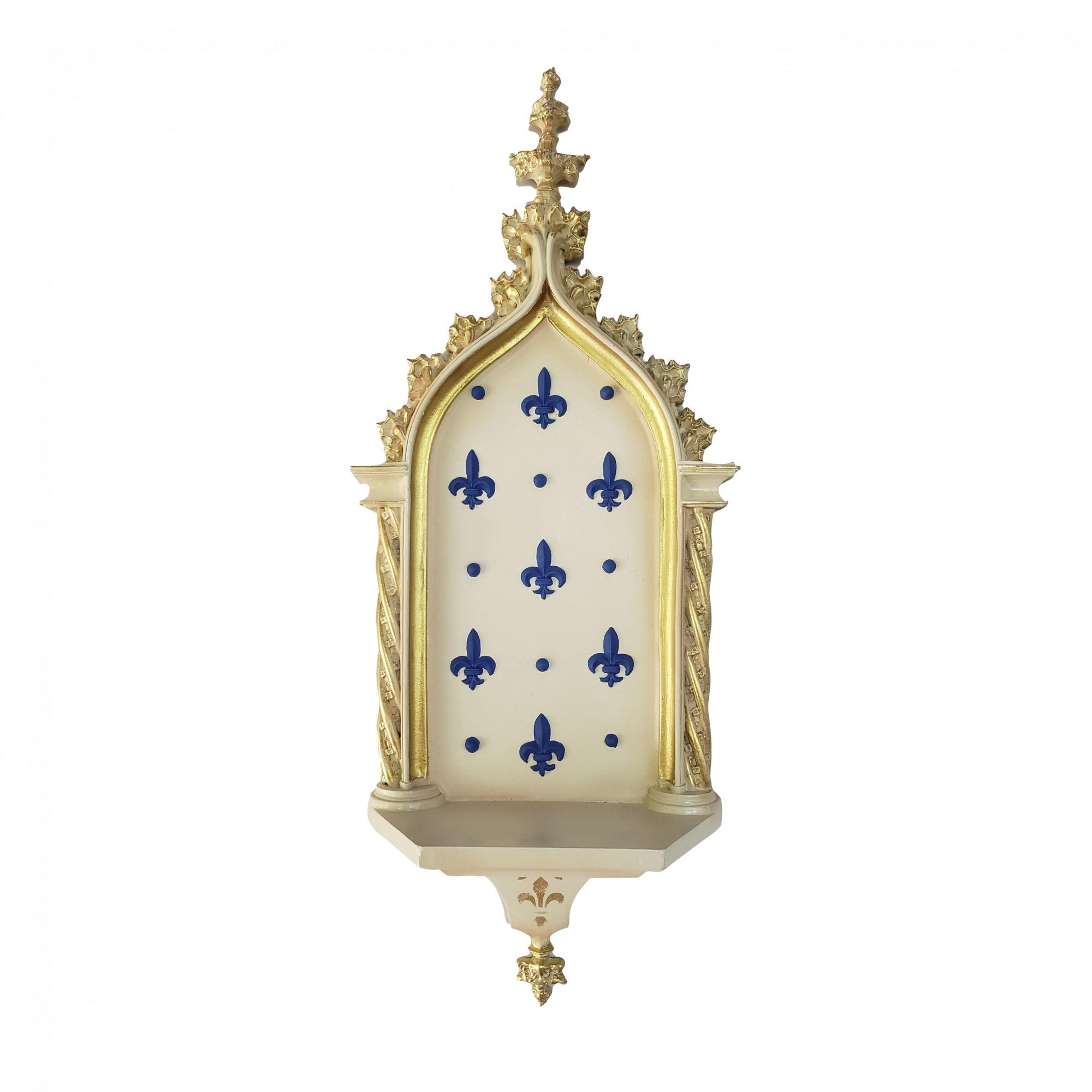 Peanha Oratório 54cm Dourada/Azul