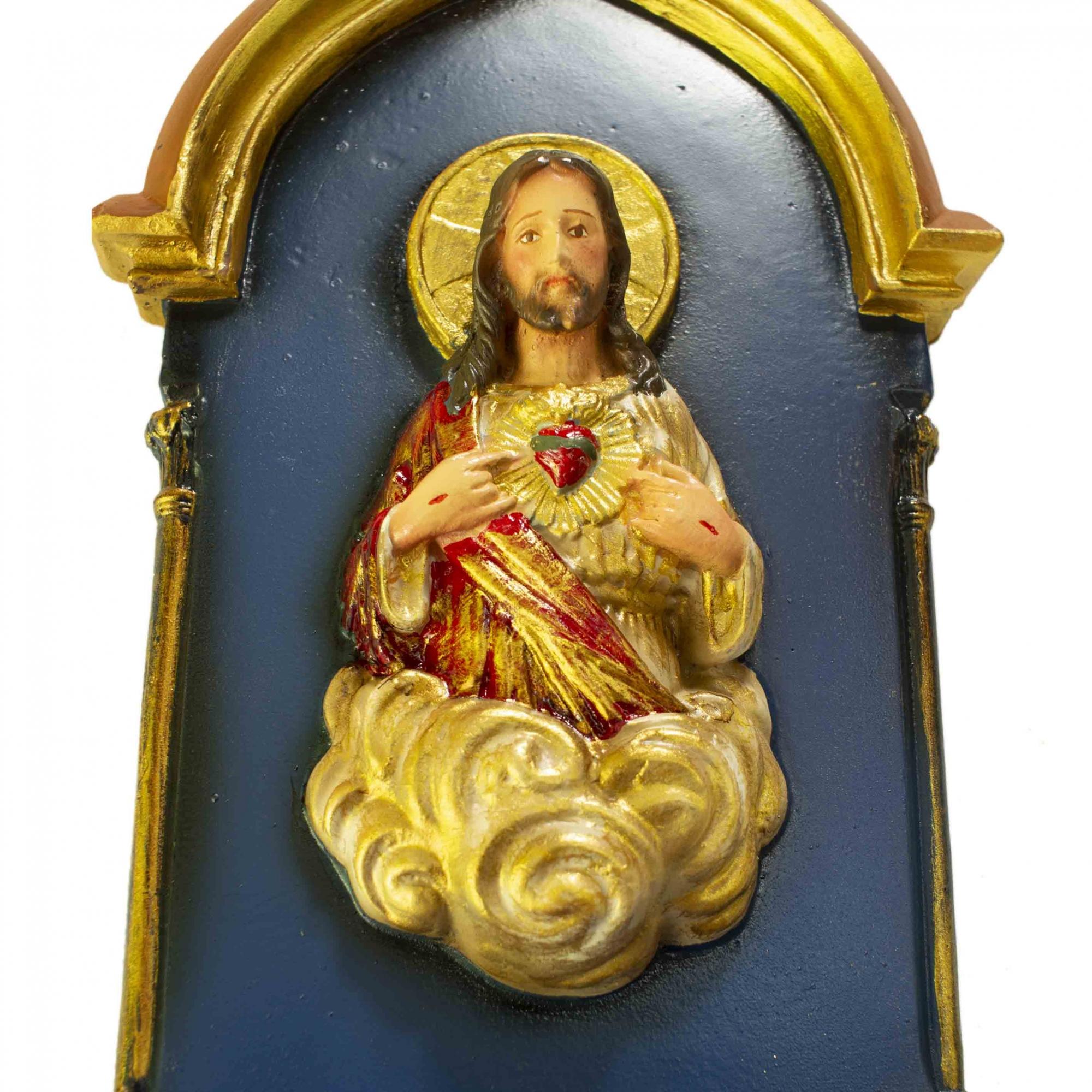 Pia de Água Benta Gótica Sagrado Coração de Jesus Azul