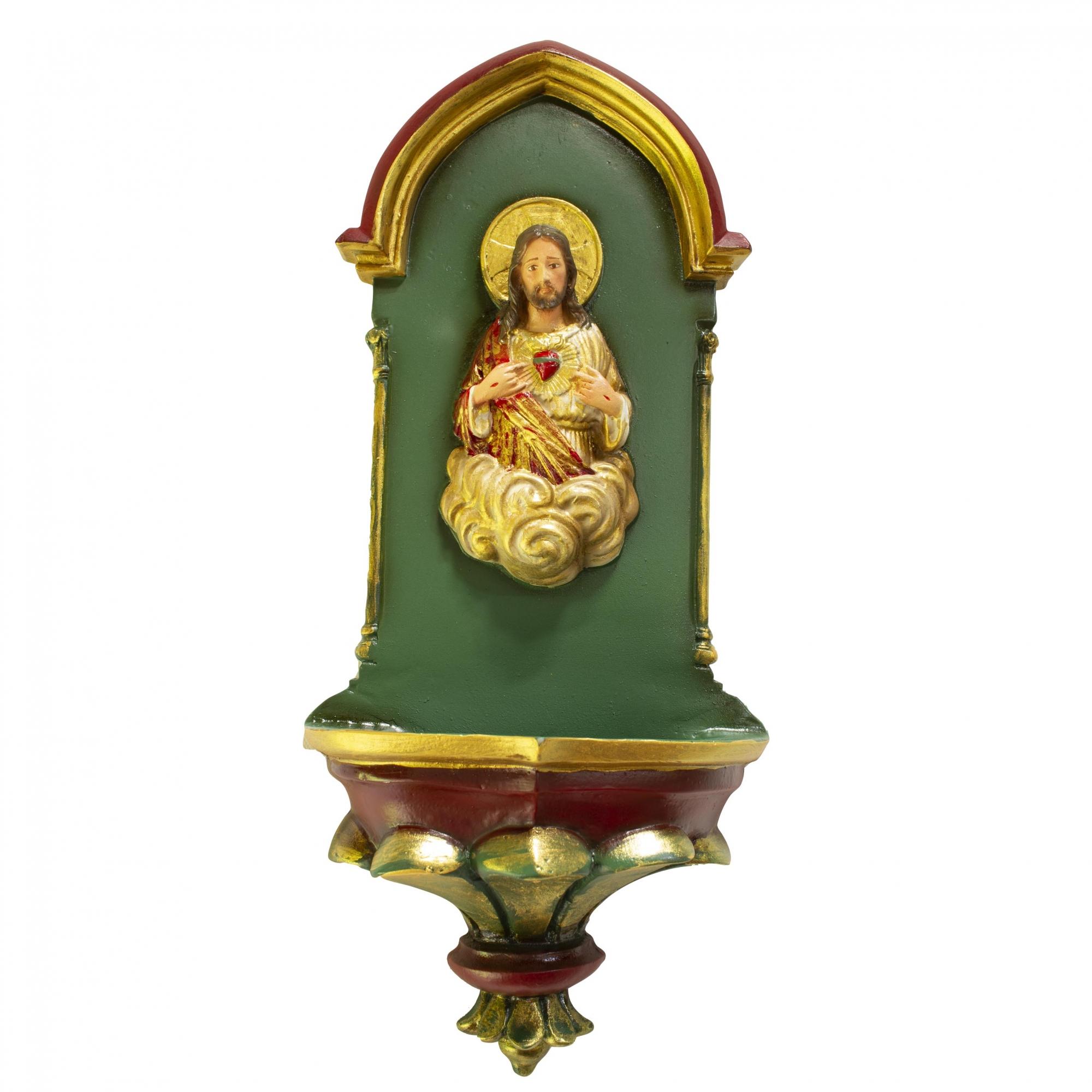 Pia de Água Benta Gótica Sagrado Coração de Jesus Verde