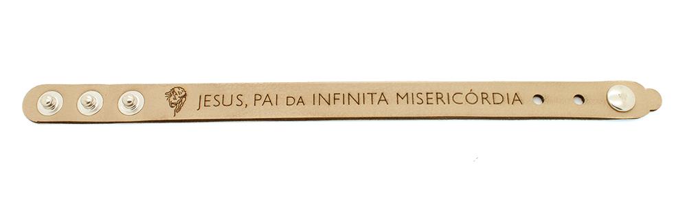 Pulseira Bracelete de Couro Sintético  Jesus, Pai da Misericórdia