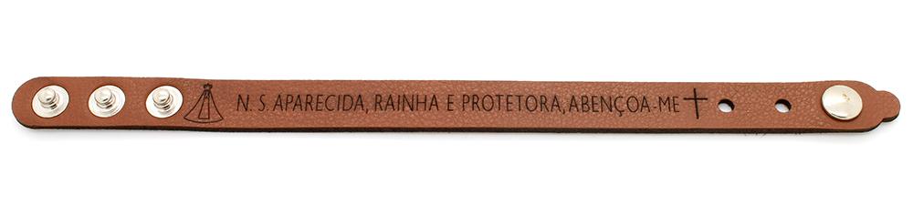 Pulseira Bracelete de Couro sintético Nossa Senhora Aparecida