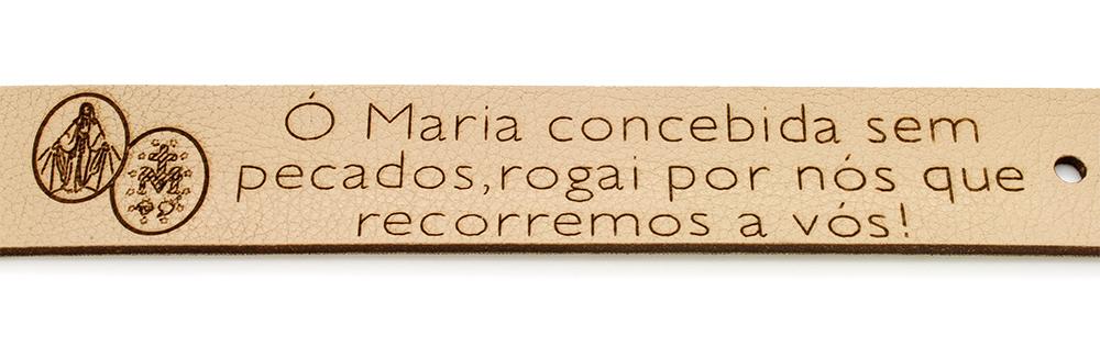 Pulseira Bracelete de Couro Sintético  Ó Maria Concebida sem pecado