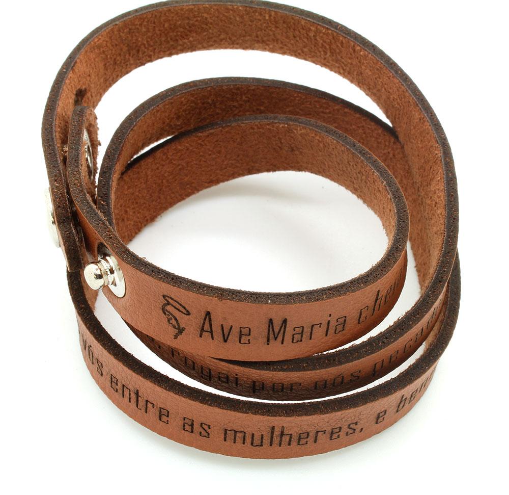 Pulseiras braceletes de Couro Sintético  três voltas - Oração da Ave Maria