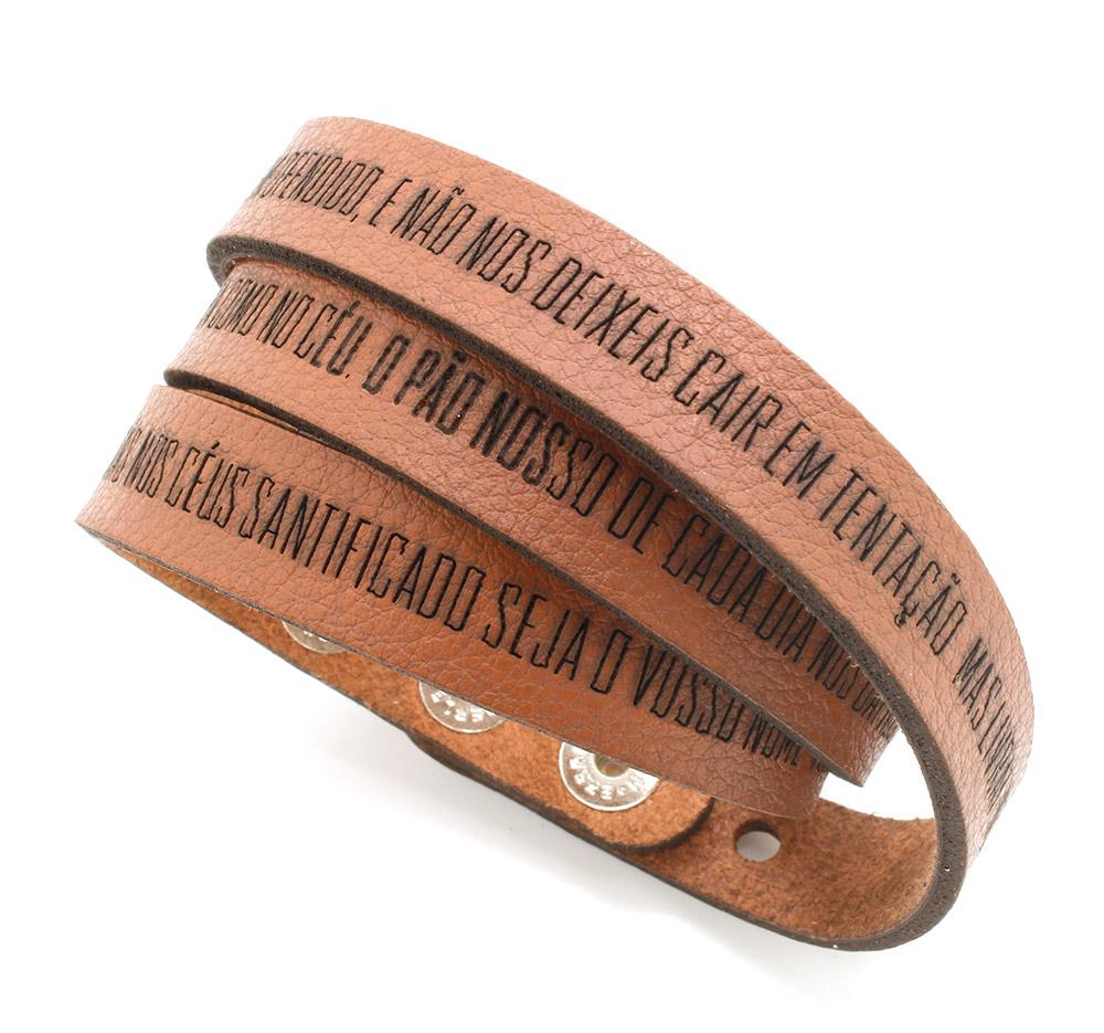 Pulseiras braceletes de Couro Sintético  três voltas - Oração do Pai Nosso