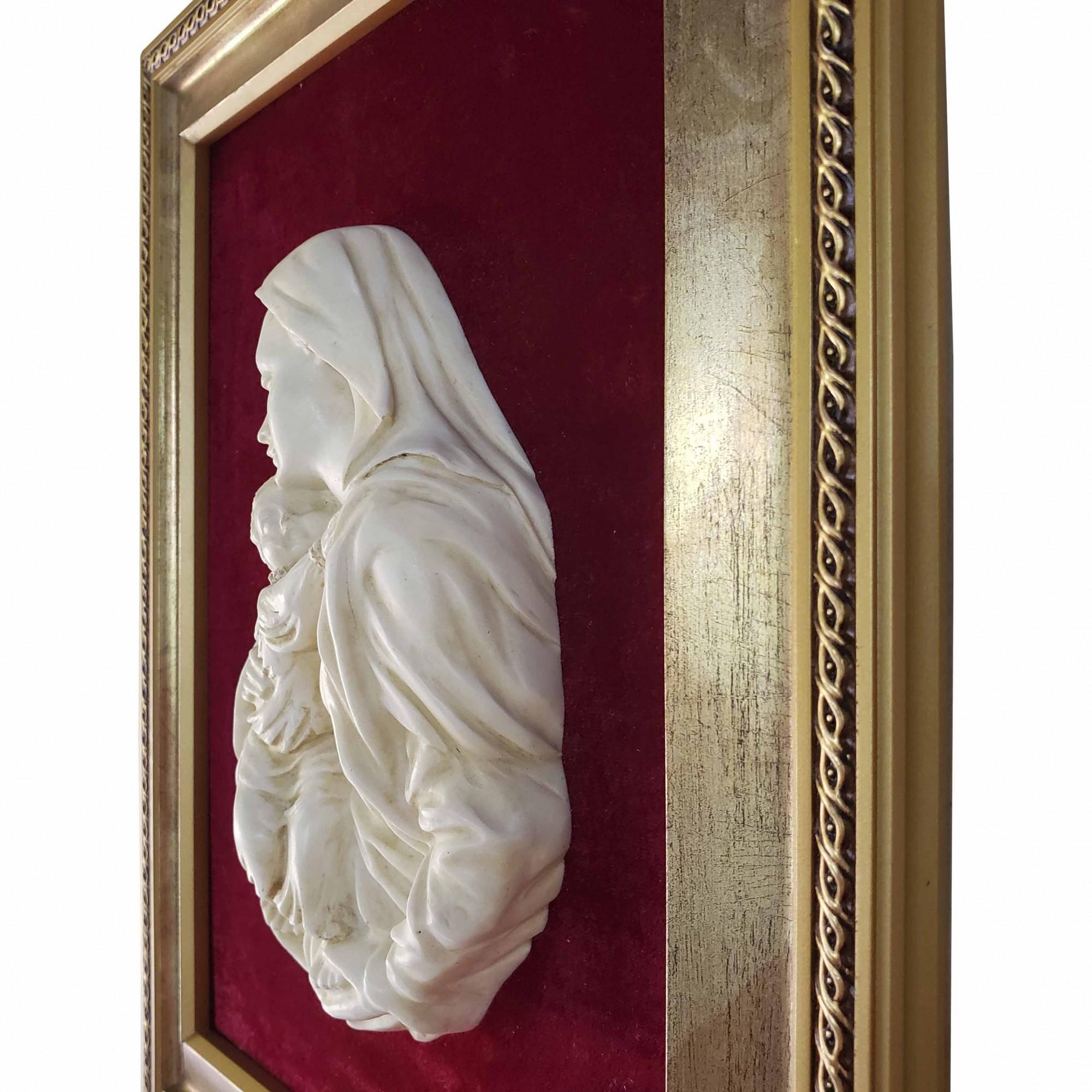 Quadro Alto Relevo Nossa Senhora Com Menino Jesus