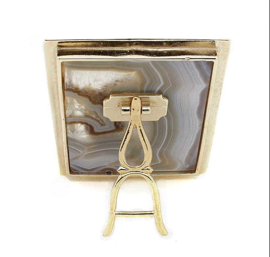 Quadro de mesa em pedra Ágata - N.Sra Perpétuo Socorro