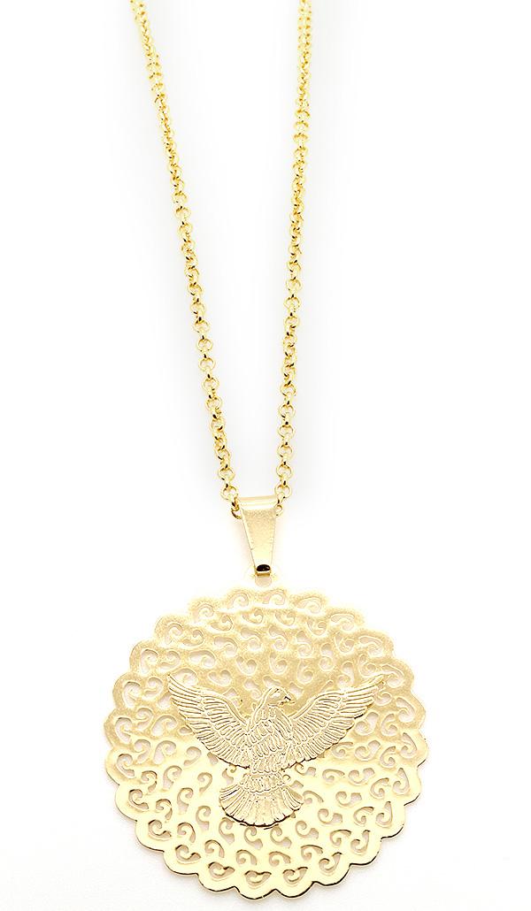 Semi-Joia Medalha Espírito Santo Folheada a Ouro