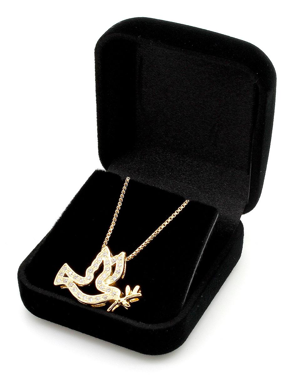 Semi-Joia Medalha Espírito Santo Folheada a Ouro com Zirconia - na corrente