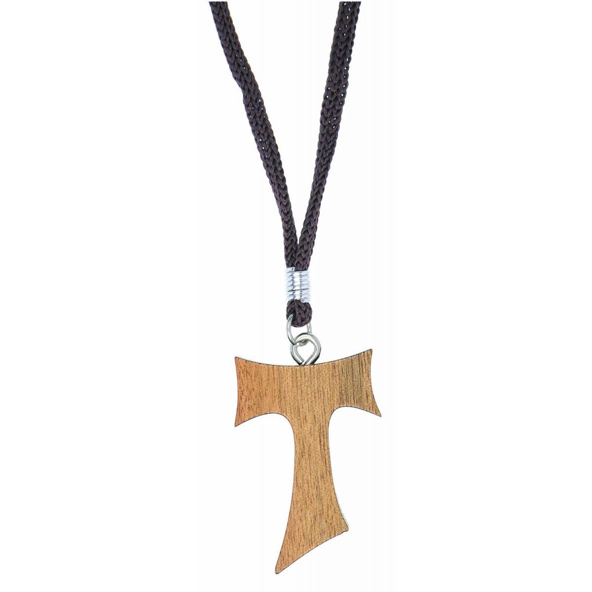 Colar  Tau Franciscano Madeira - 4cm