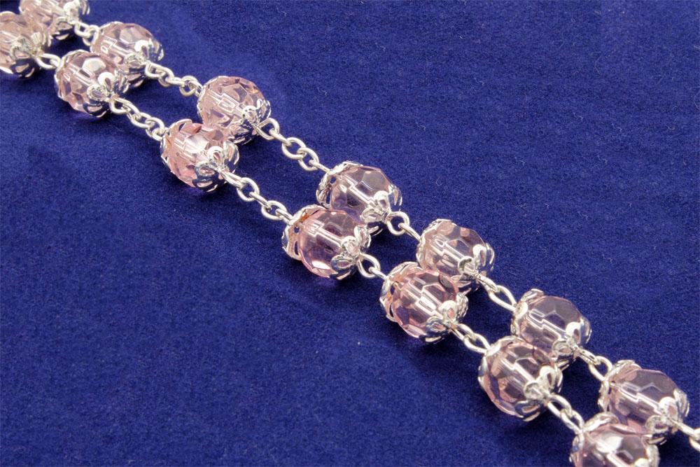 Terço Cristal Com Tulipas - cor-de-Rosa - 8mm