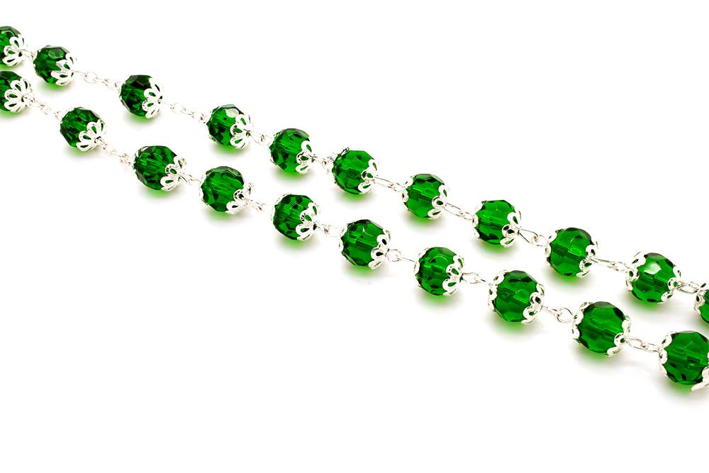 Terço Cristal Com Tulipas - Verde - 8mm