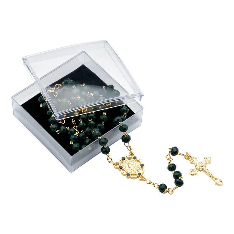 Terço Cristal Vidro Luxo Verde Escuro DR