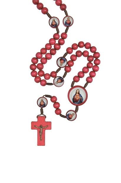 Terço de madeira Sagrados Corações de Jesus e Maria - 8mm