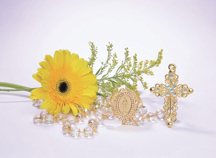 Terço de Noiva cristal vidro irisado com strass - 12mm