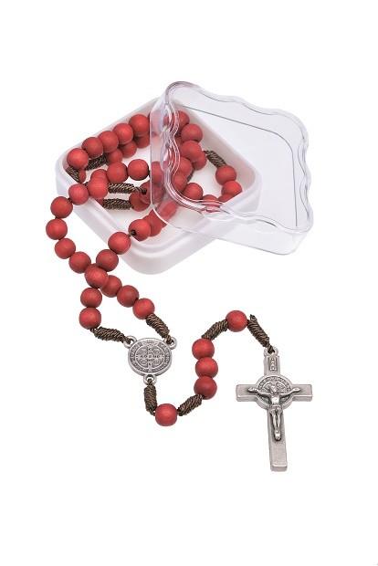 Terço de rosas no cordão com triângulo e crucifixo de São Bento - 6mm